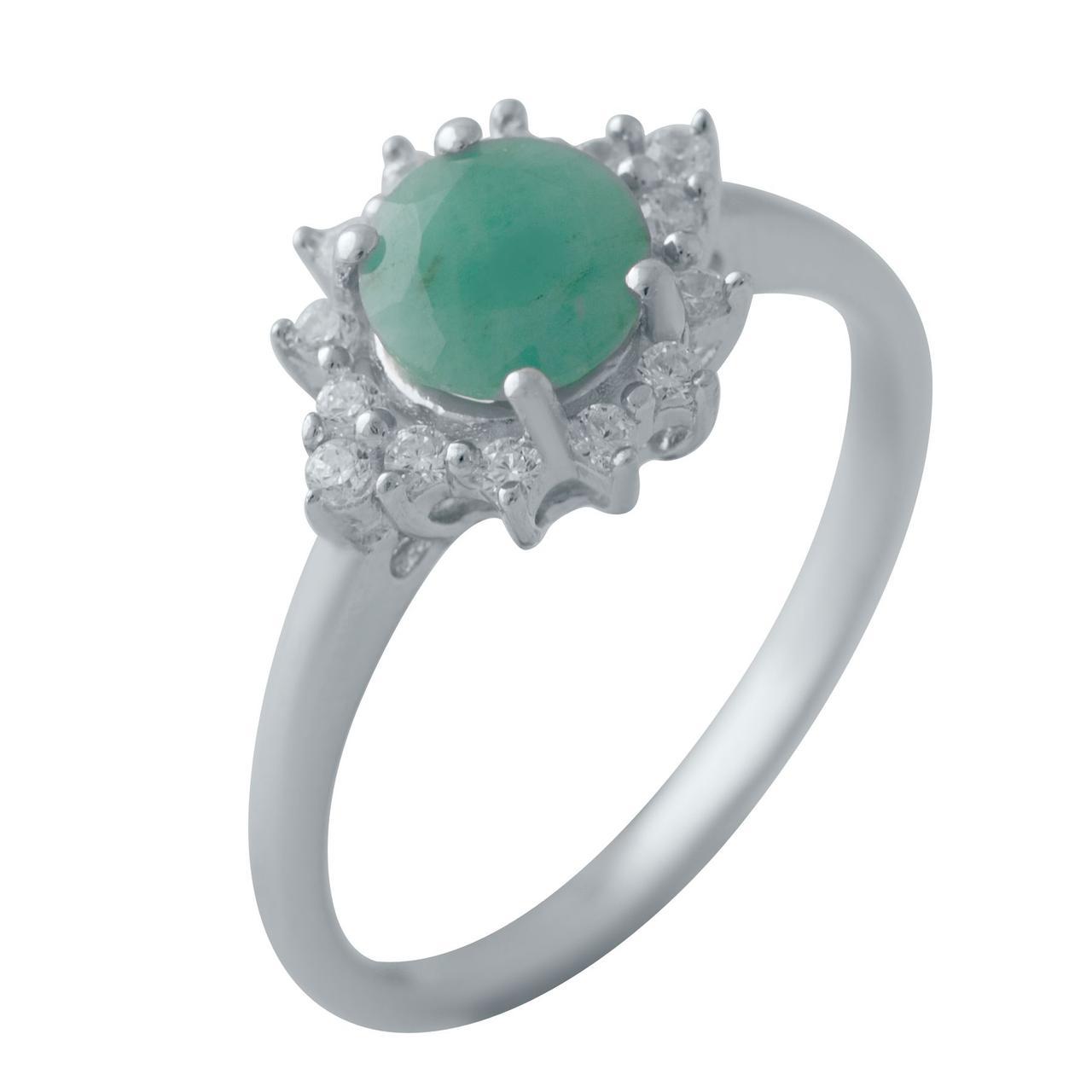 Серебряное кольцо pSilverAlex с натуральным изумрудом (1452066) 17.5 размер