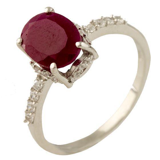 Серебряное кольцо pSilverAlex с натуральным рубином (1231333) 17 размер