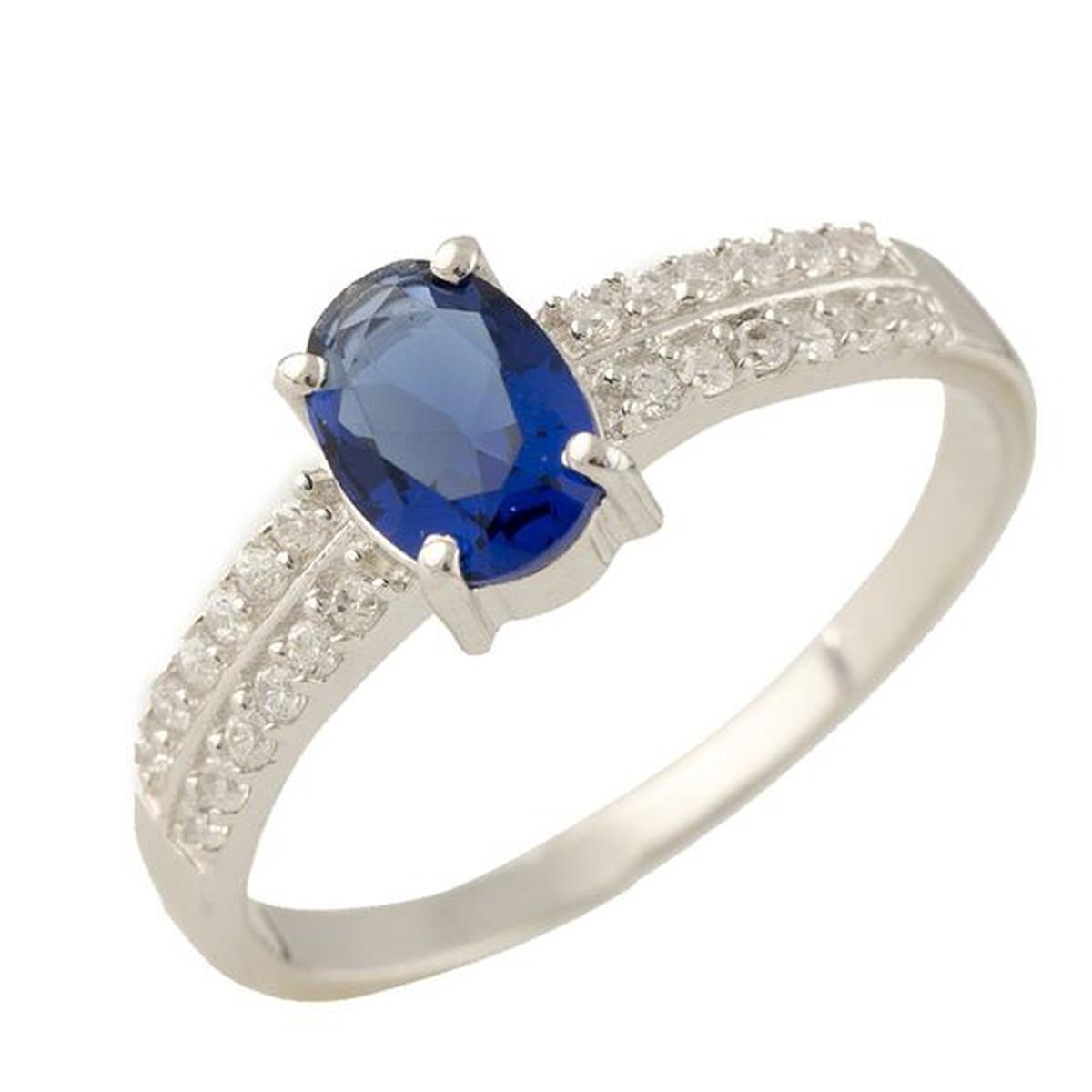 Серебряное кольцо pSilverAlex с сапфиром nano (1234037) 18 размер