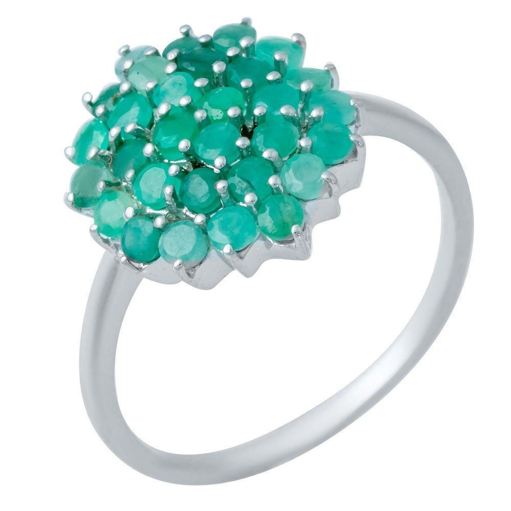 Серебряное кольцо pSilverAlex с натуральным изумрудом (1234709) 18 размер