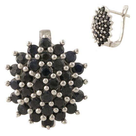 Серебряные серьги pSilverAlex с натуральным сапфиром (1239209)