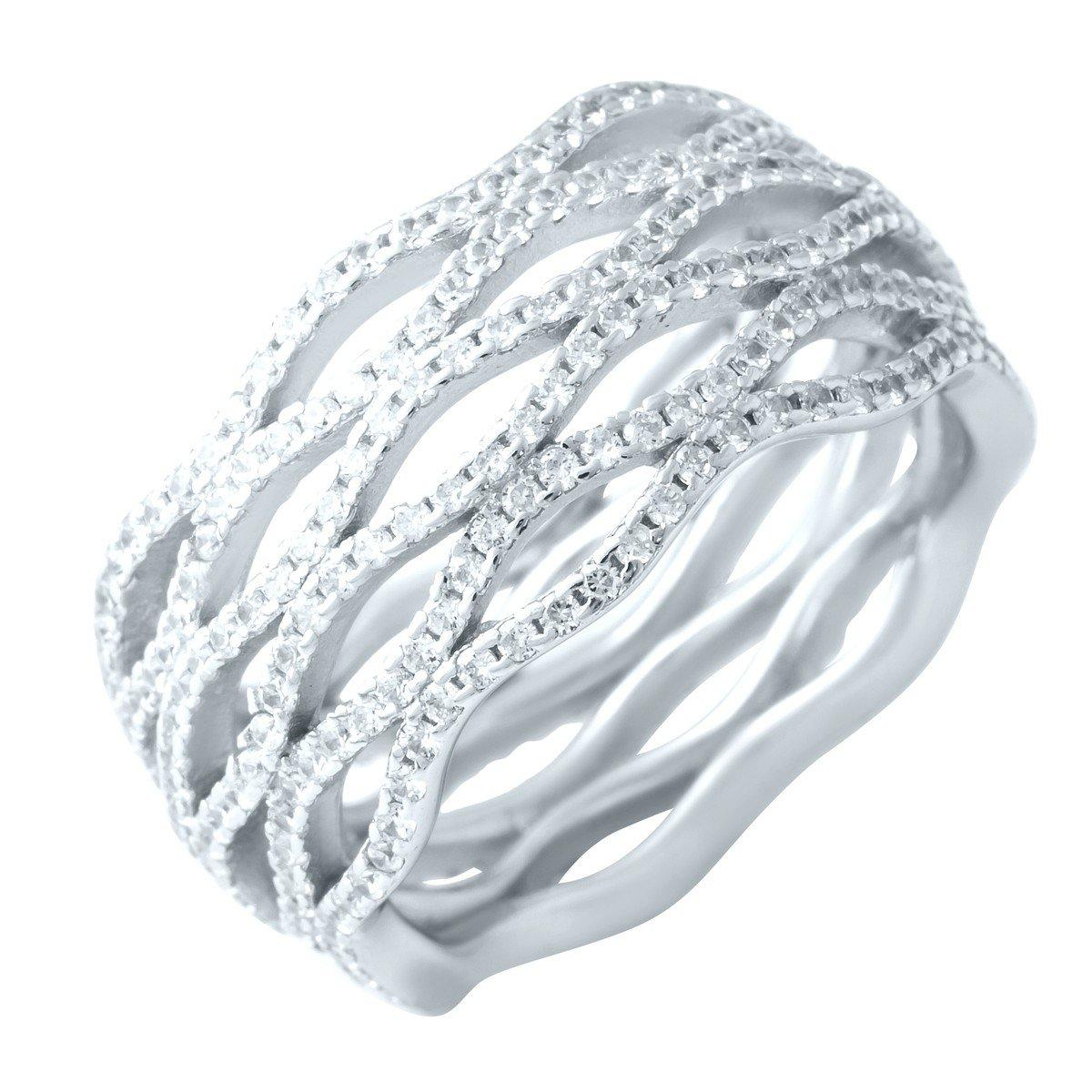 Серебряное кольцо pSilverAlex с фианитами (1918692) 17.5 размер