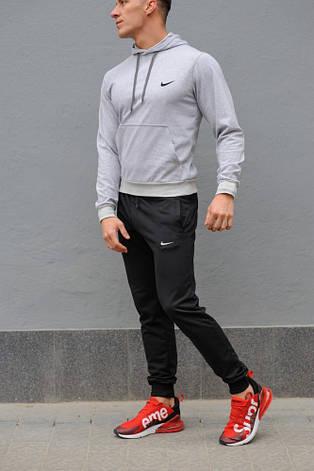 Мужской спортивный костюм Nike (Найк), серая худи и черные штаны весна-осень (реплика), фото 2