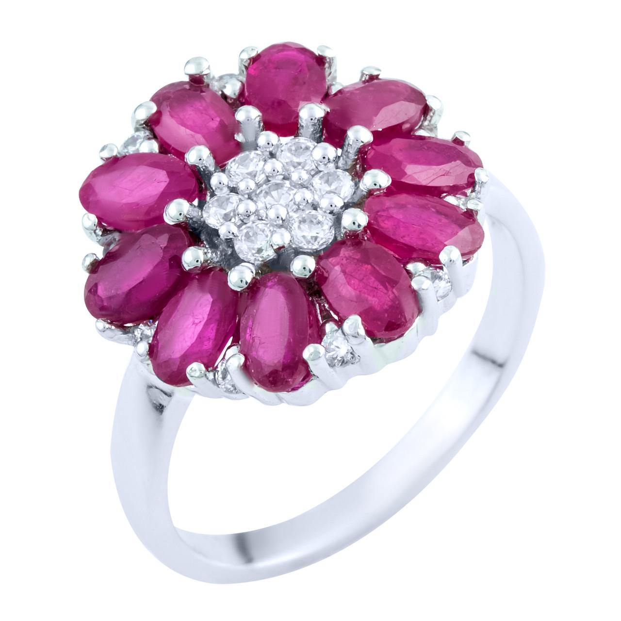 Серебряное кольцо pSilverAlex с натуральным рубином (1762974) 17.5 размер