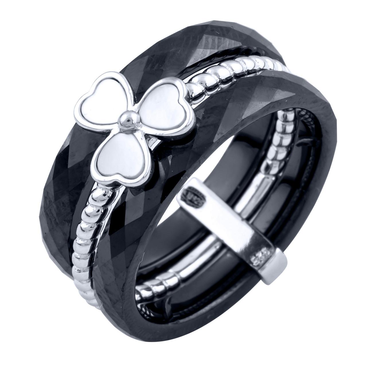 Серебряное кольцо pSilverAlex с натуральным керамикой, перламутром (1764916) 18 размер 6.28, 18.5