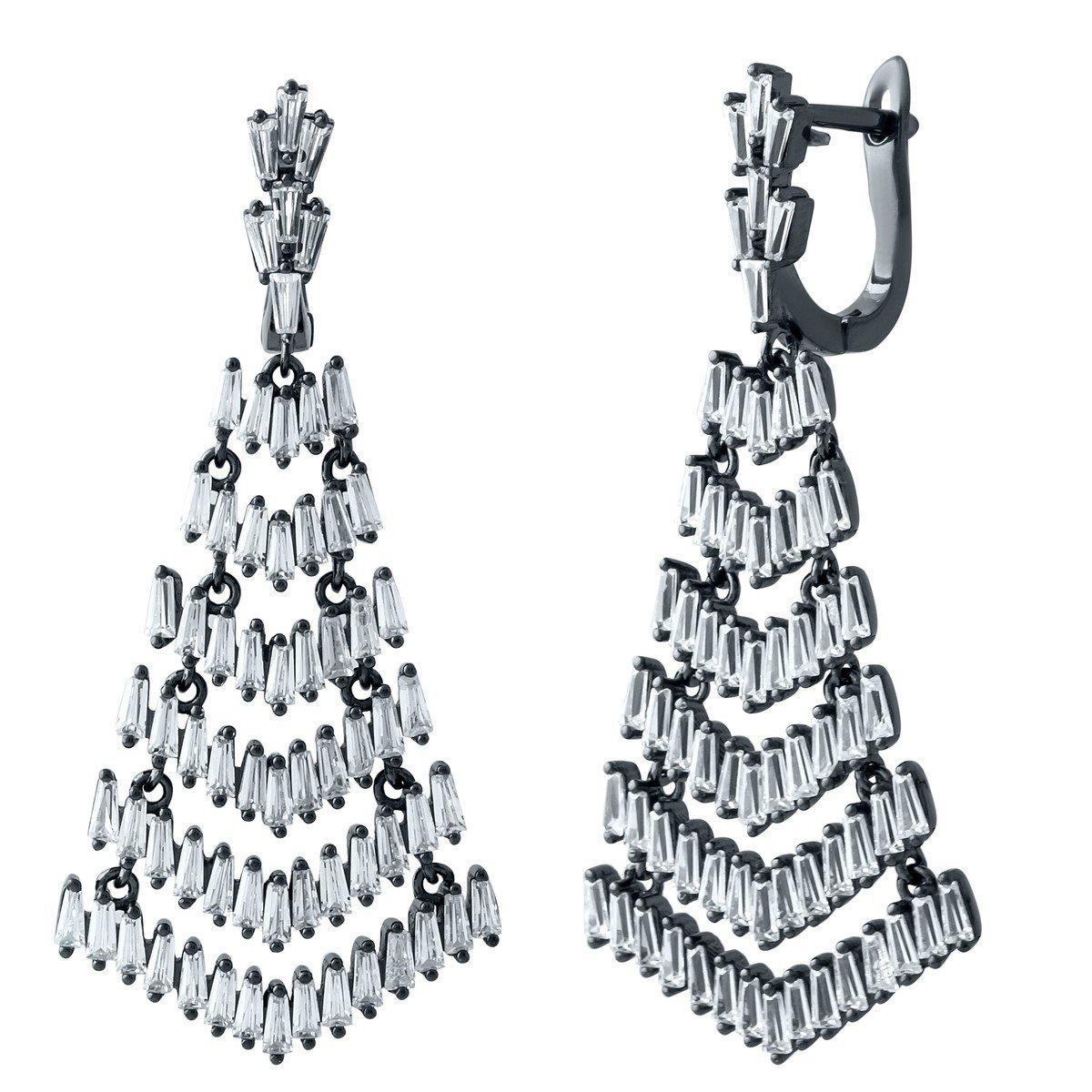 Серебряные серьги pSilverAlex с фианитами (1909140)