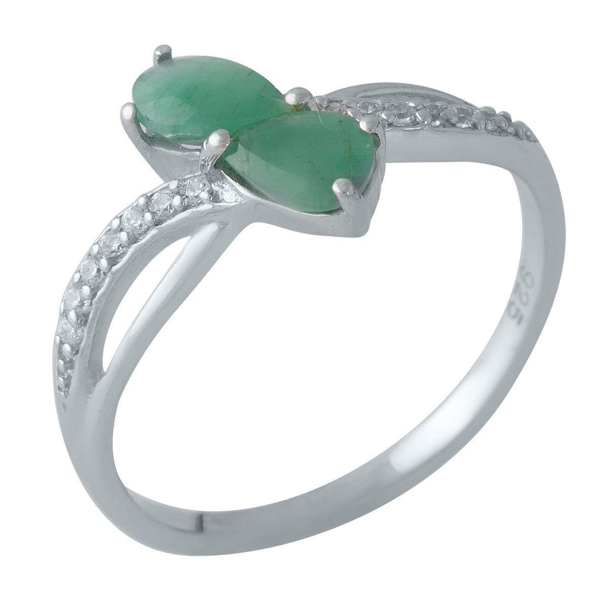 Серебряное кольцо pSilverAlex с натуральным изумрудом (1983546) 17.5 размер