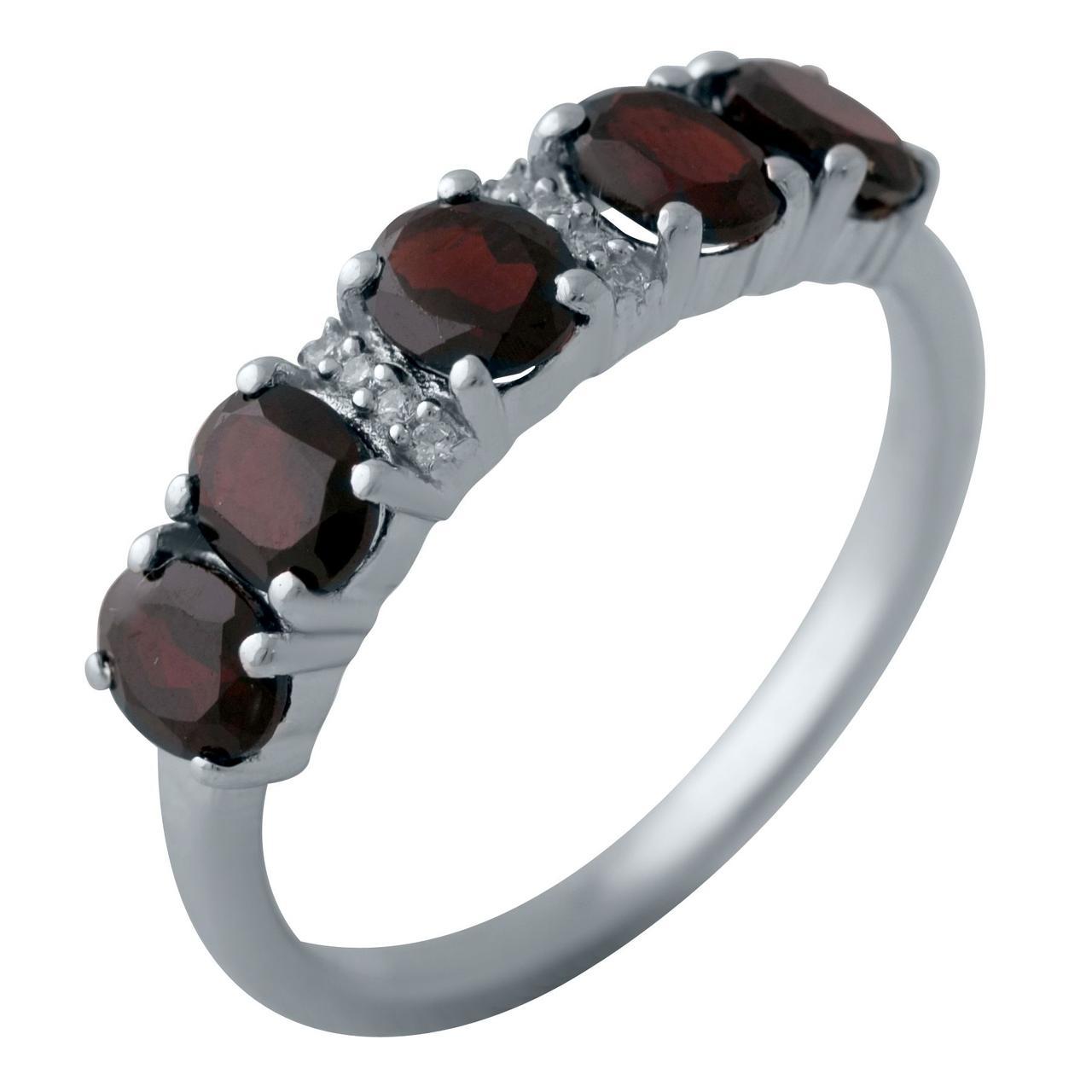 Серебряное кольцо pSilverAlex с натуральным гранатом (2005872) 18.5 размер