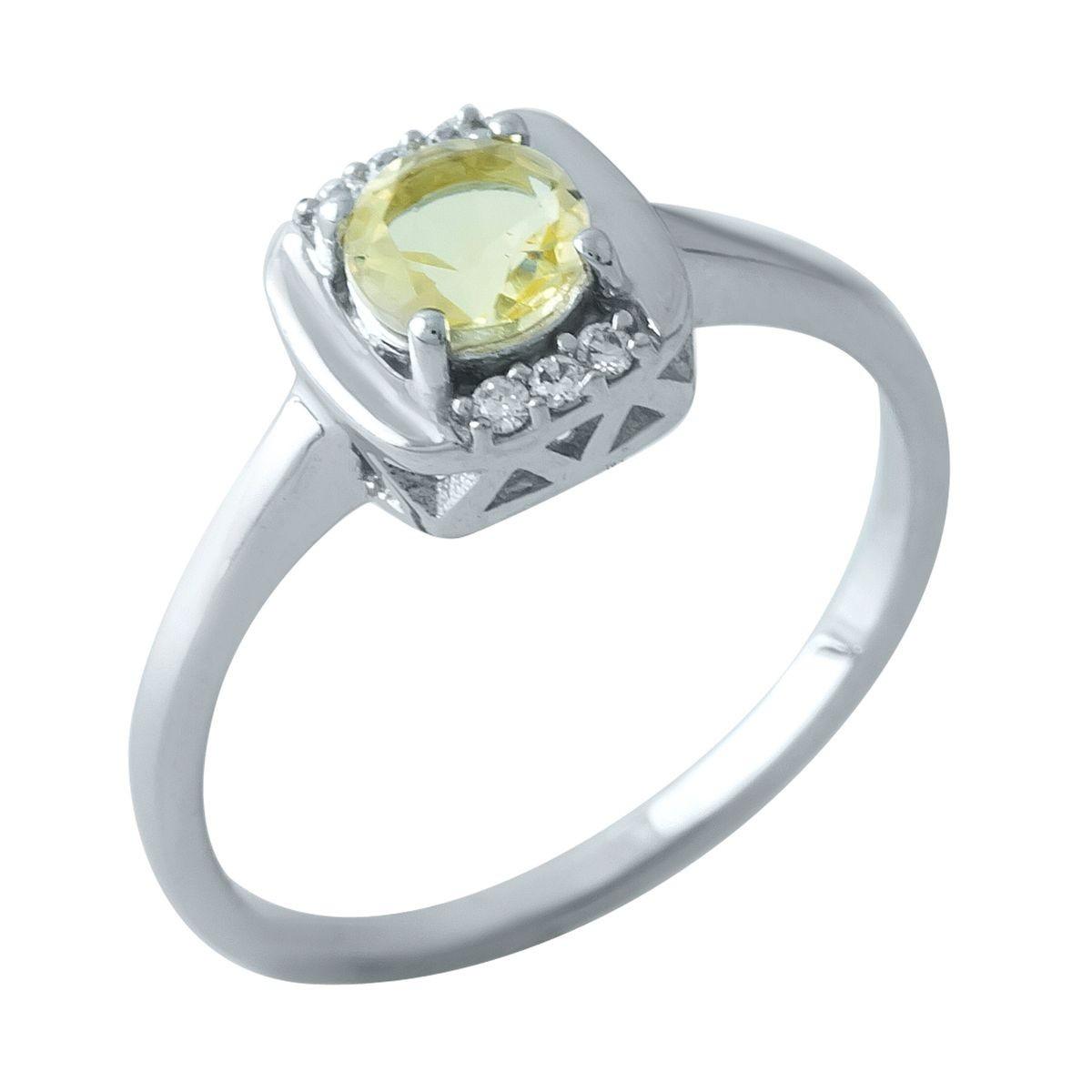 Серебряное кольцо pSilverAlex с цитрином nano (1967348) 17.5 размер