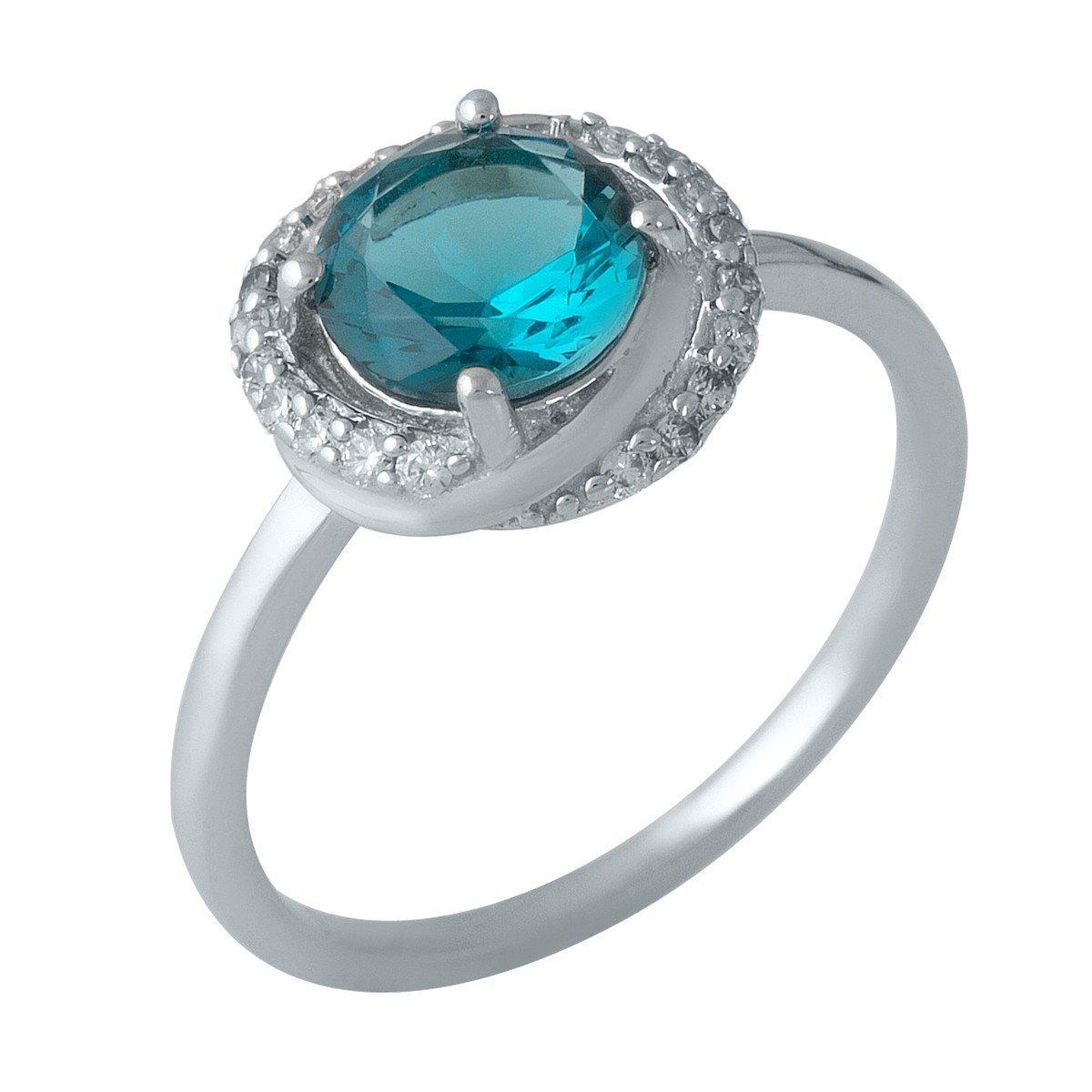 Серебряное кольцо pSilverAlex с натуральным топазом Лондон Блю (1988510) 18 размер