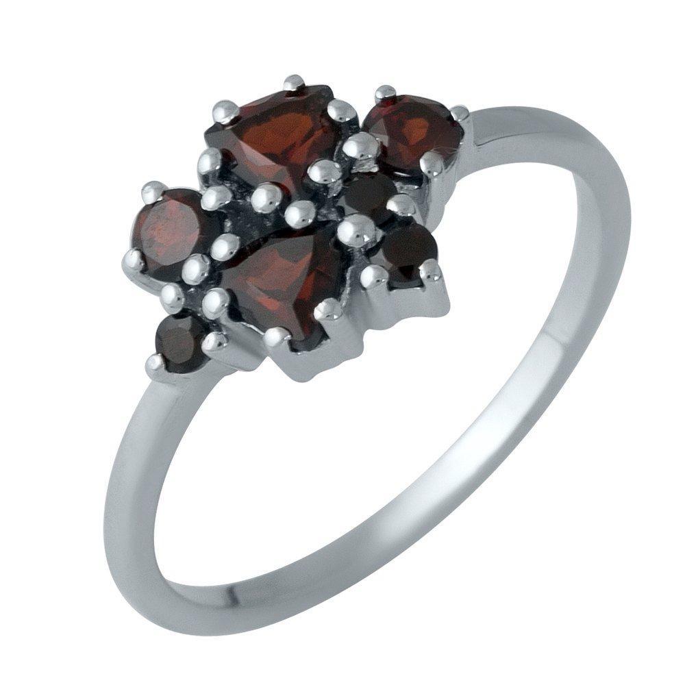 Серебряное кольцо pSilverAlex с натуральным гранатом (1989128) 18 размер