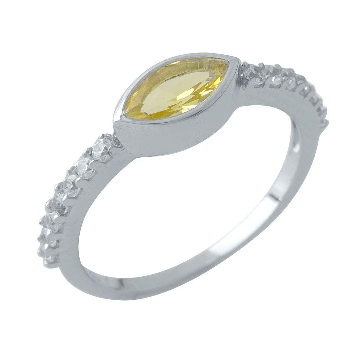 Серебряное кольцо pSilverAlex с цитрином nano (1970805) 18.5 размер