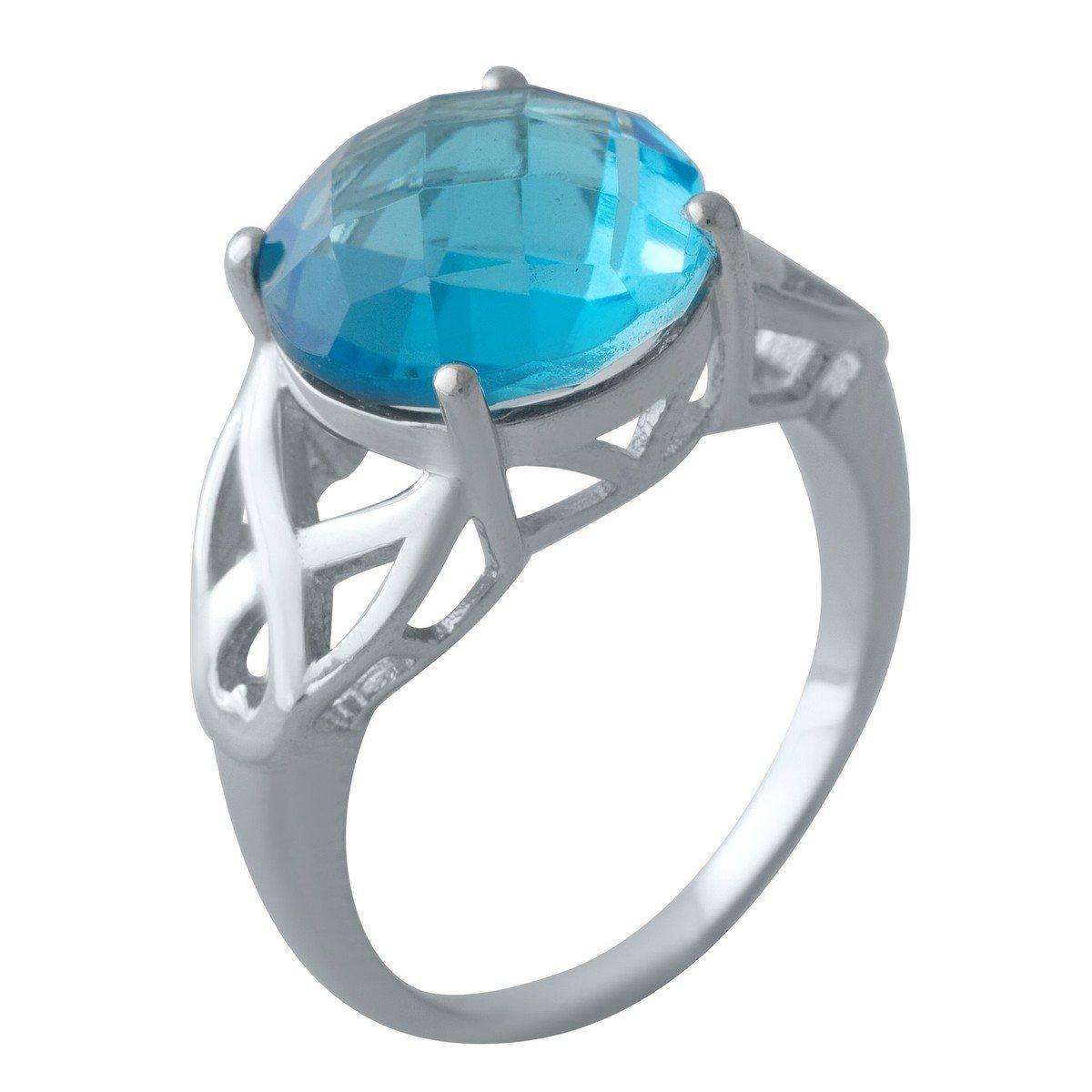 Серебряное кольцо pSilverAlex с аквамарином nano (2011910) 18 размер 4.73, 17.5