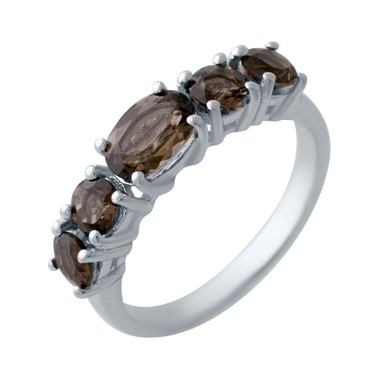 Серебряное кольцо pSilverAlex с натуральным раухтопазом (димчатим кварцем) (2025436) 18 размер