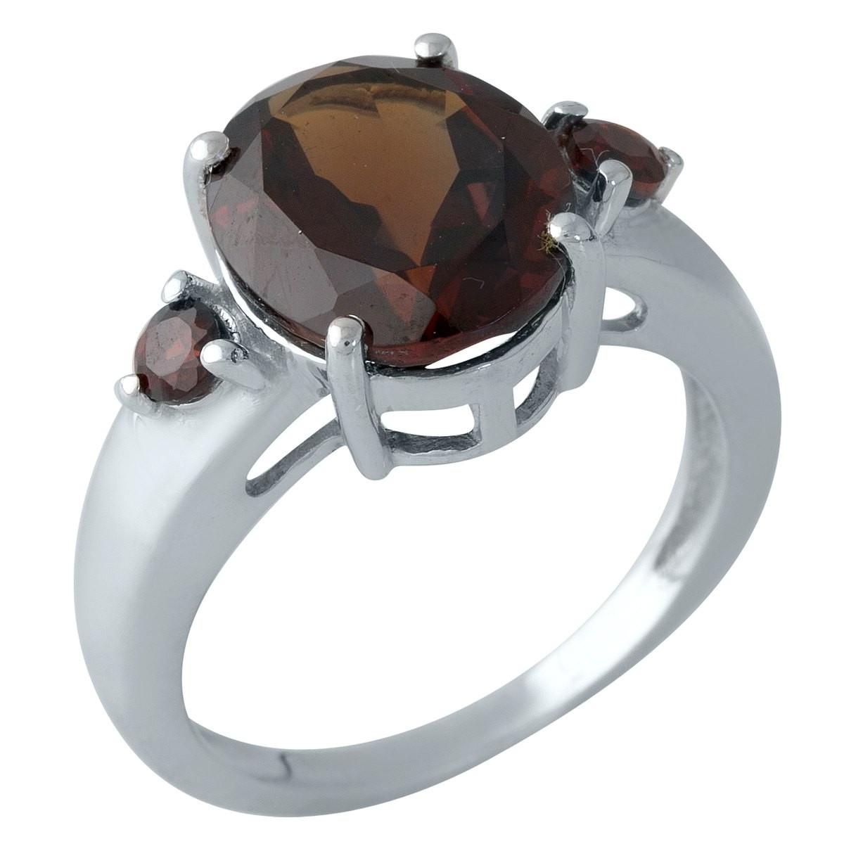 Серебряное кольцо pSilverAlex с натуральным гранатом (1996645) 17 размер