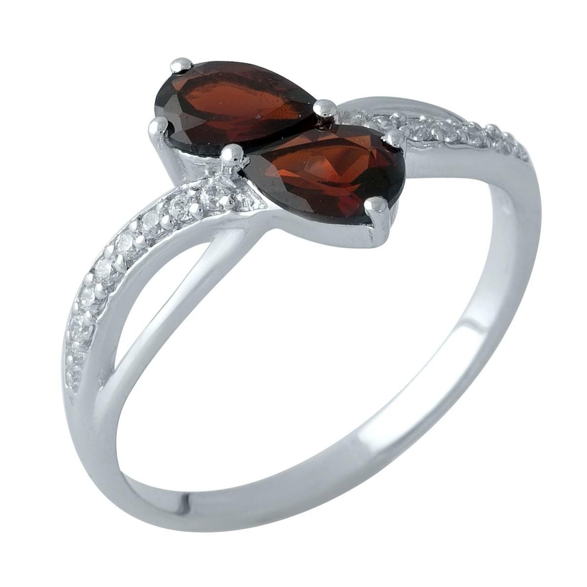 Серебряное кольцо pSilverAlex с натуральным гранатом (1996904) 18.5 размер