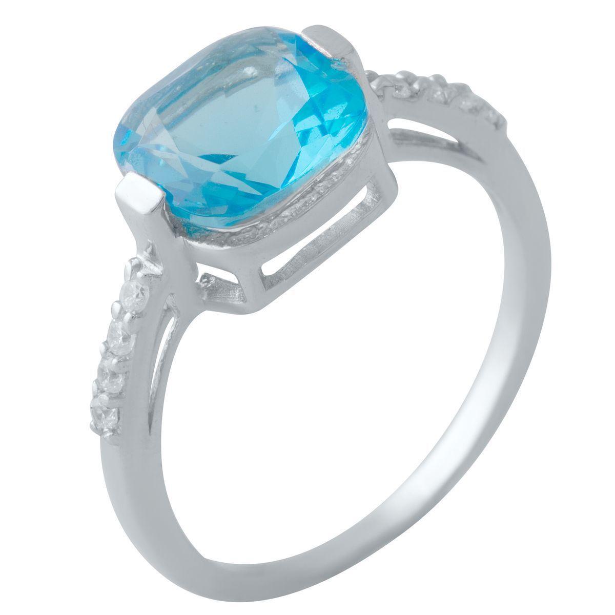 Серебряное кольцо pSilverAlex с аквамарином nano (2016786) 18.5 размер