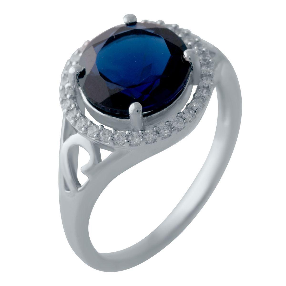 Серебряное кольцо pSilverAlex с сапфиром nano (2029175) 18 размер