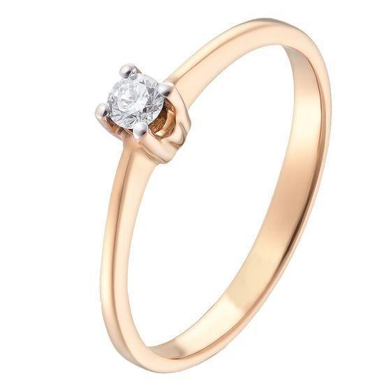 Золотое кольцо pSilverAlex с натуральными бриллиантом (60001217) 17.5 размер