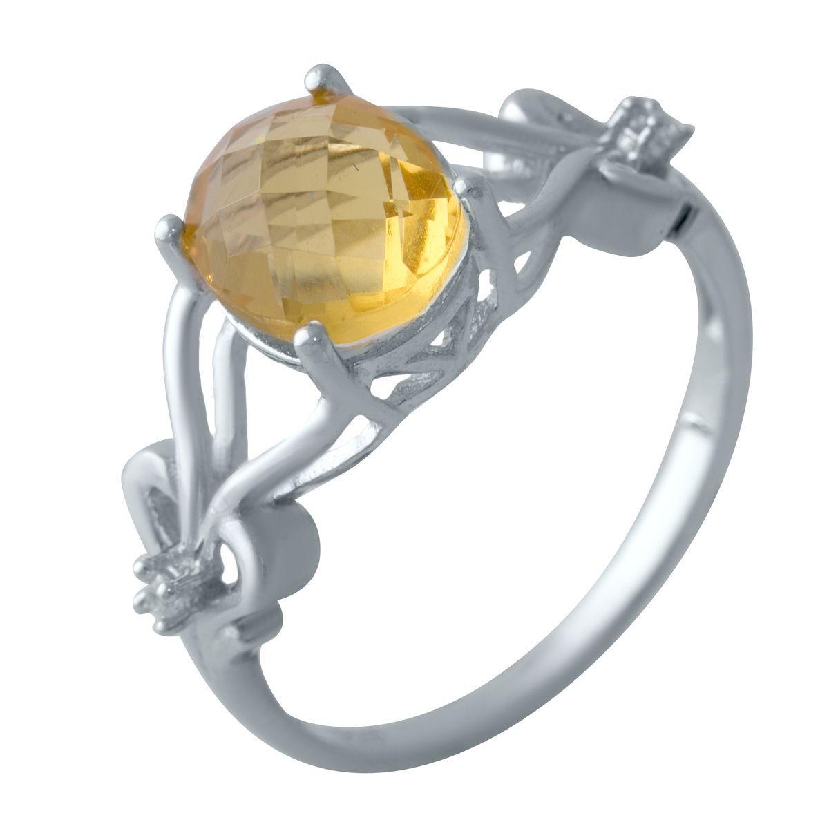 Серебряное кольцо pSilverAlex с цитрином nano (2031901) 18 размер