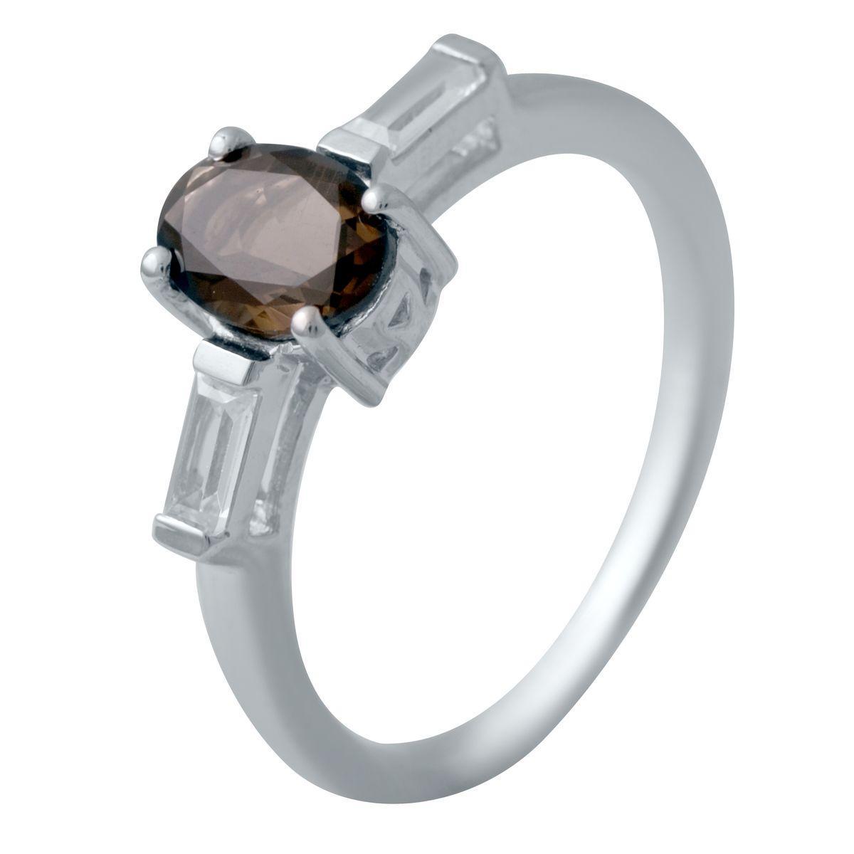Серебряное кольцо pSilverAlex с натуральным раухтопазом (димчатим кварцем) (2033455) 17.5 размер 2, 17