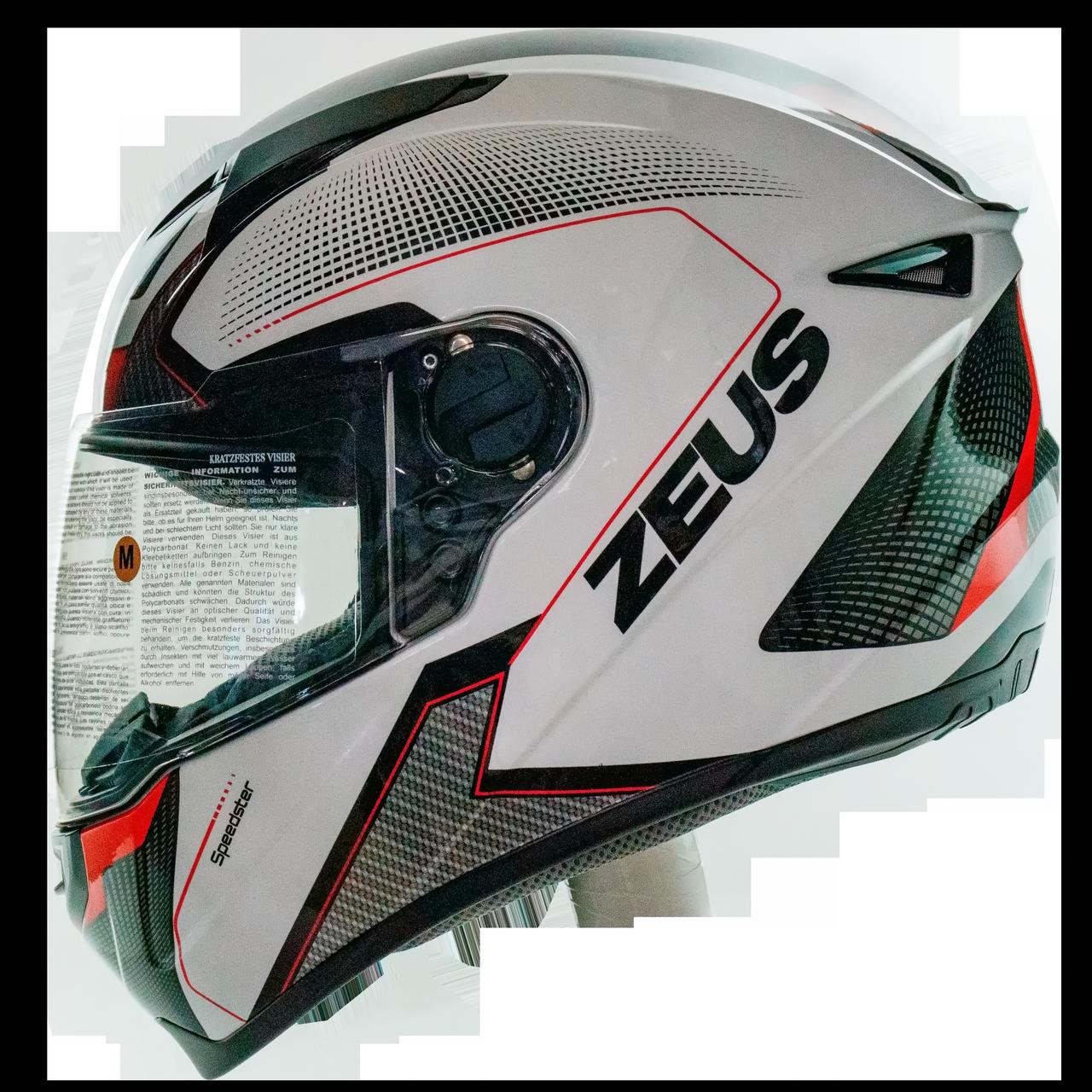 Мотошлем интеграл  ZEUS  ZS-811 White AL6 Red - белый