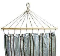 Подвесной тканевый гамак с деревяными перекладинами, 200 х 80 см. Коричнево-голубой в полоску, Туристические