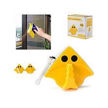 Магнитная щетка для мытья окон с двух сторон треугольная желтая, мочалка для окон на магните, Для мытья окон