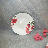 Тарелка круглая суповая полупорционная с красными маками 20.5 см (4335)