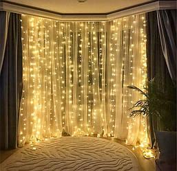 Світлодіодна гірлянда LTL штора curtain 3*3 метра 300 led 220v тепле світіння без пульта