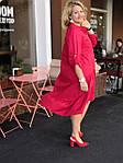 Платье красное хлопок, оверсайз Бохо. 48-56, фото 3