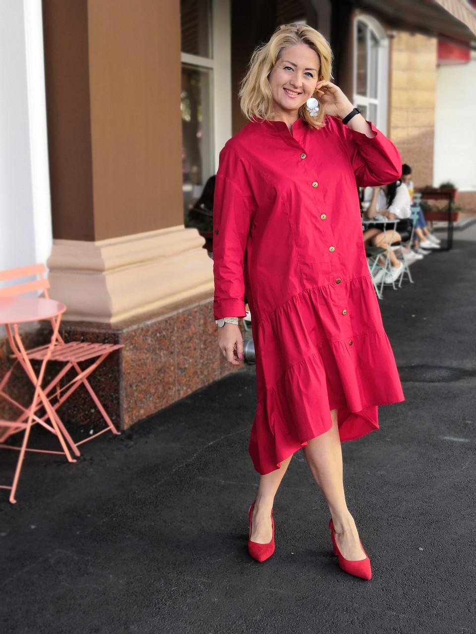 Платье красное хлопок, оверсайз Бохо. 48-56