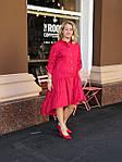 Платье красное хлопок, оверсайз Бохо. 48-56, фото 2