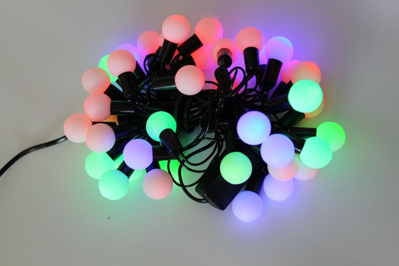 Новогодняя гирлянда Multi Ball 5м диам. 20мм 40 шариков RGB чёрн. шнур (20368)
