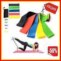 Резинки для фитнеса, фитнес лента для упражнений 5 шт с чехлом, разноцветные