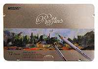 Карандаши цветные Marco Raffine акварельные с кисточкой 12 цветов металлическая коробка (7120-12TN)