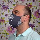 Маска защитная двухслойная серая Apple многоразовая хлопковая для мужчин, фото 2