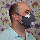 Маска защитная двухслойная серая Apple многоразовая хлопковая для мужчин, фото 6