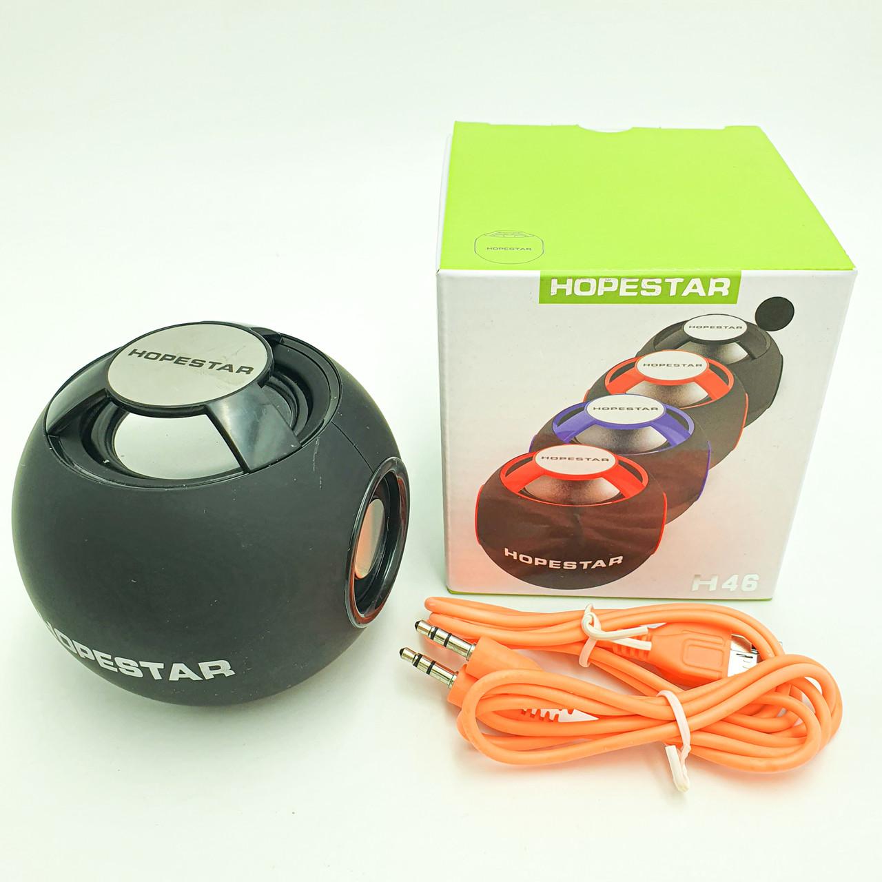 Портативная Bluetooth колонка акустическая стерео система 6 Вт мини динамик с USB и FM Hopestar H46 черный