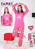 Пижама из махрыи флиса с оленями