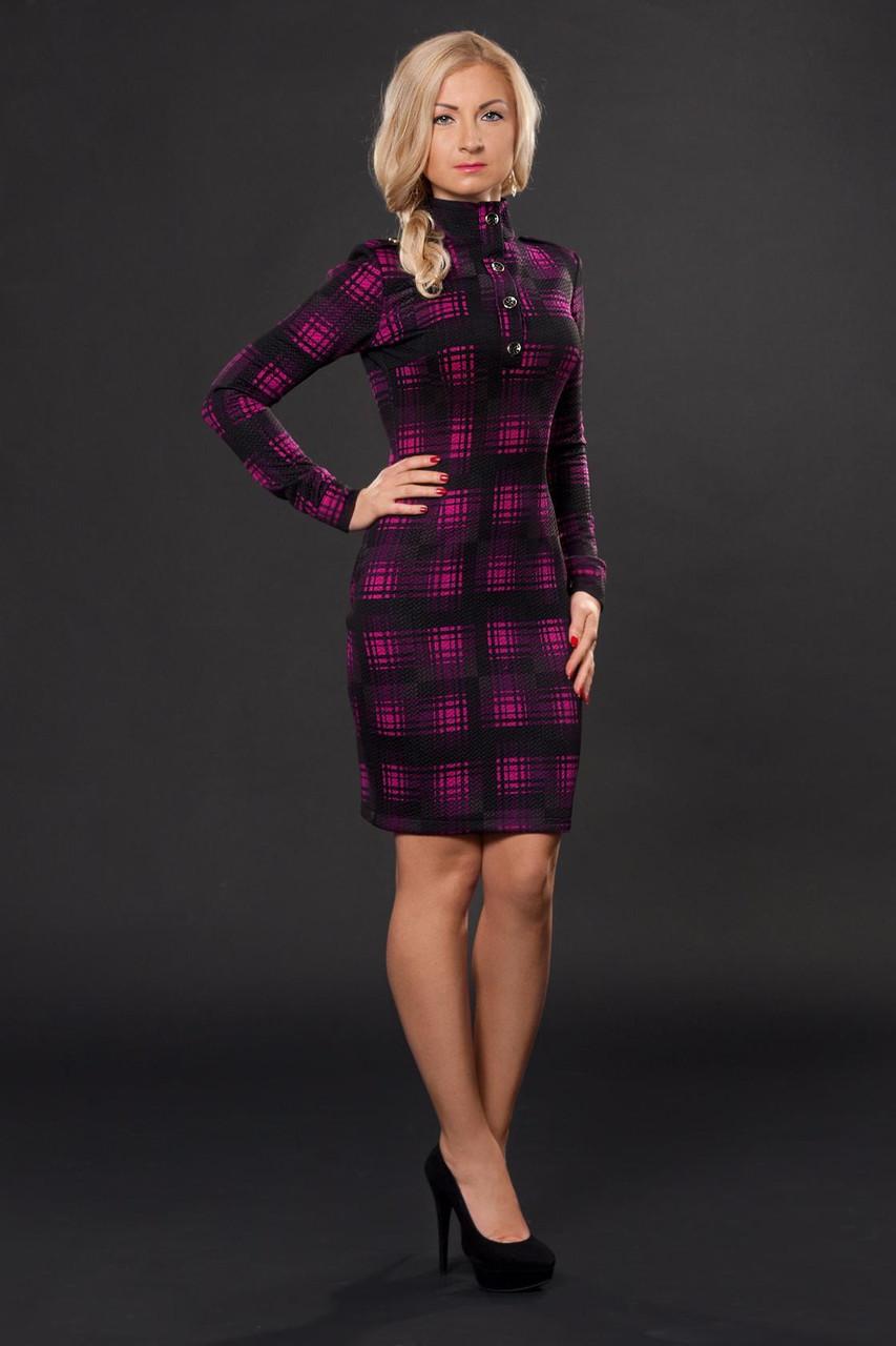 Платье с воротником стойкой на пуговицах