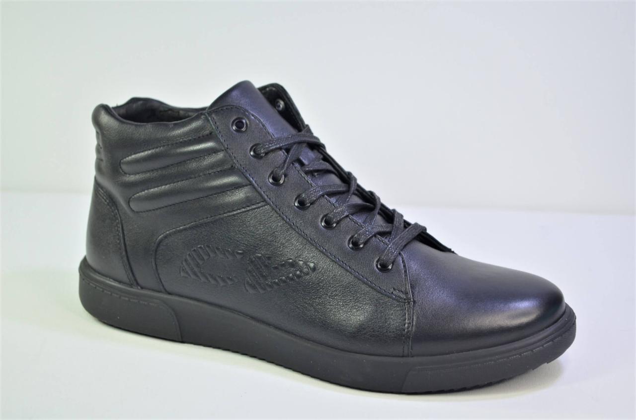 Мужские зимние кожаные ботинки черные Corso Vito 02 - 3439626