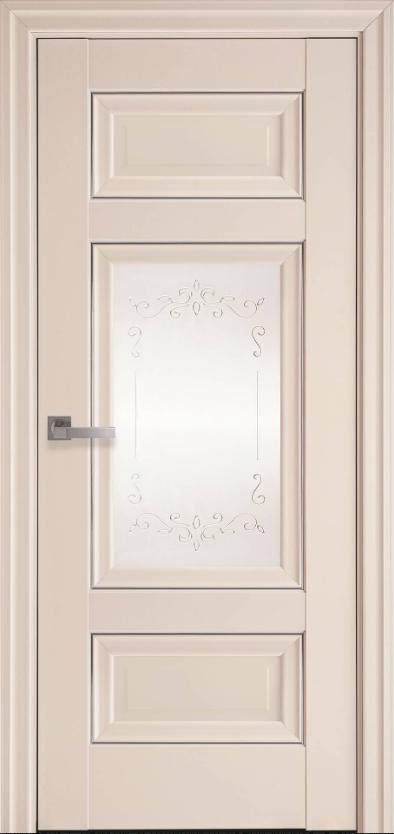 """Дверь межкомнатная остеклённая новый стиль Элегант """"Шарм Р2 ML2"""" 60,70,80,90 см, с молдингом магнолия"""