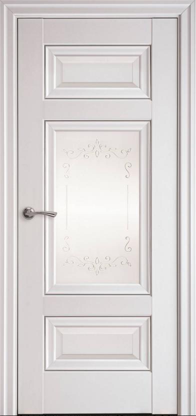 """Дверь межкомнатная остеклённая новый стиль Элегант """"Шарм Р2 ML2"""" 60,70,80,90 см, с молдингом белый матовый"""