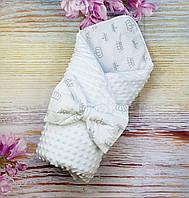 Конверт торжественный на выписку для новорожденных в роддом деми/зима плюшевый Минки двухсторонний