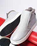 Зимние серые лаковые ботинки ( хайтопы) Ankle slip, фото 9