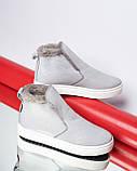 Зимние серые лаковые ботинки ( хайтопы) Ankle slip, фото 3