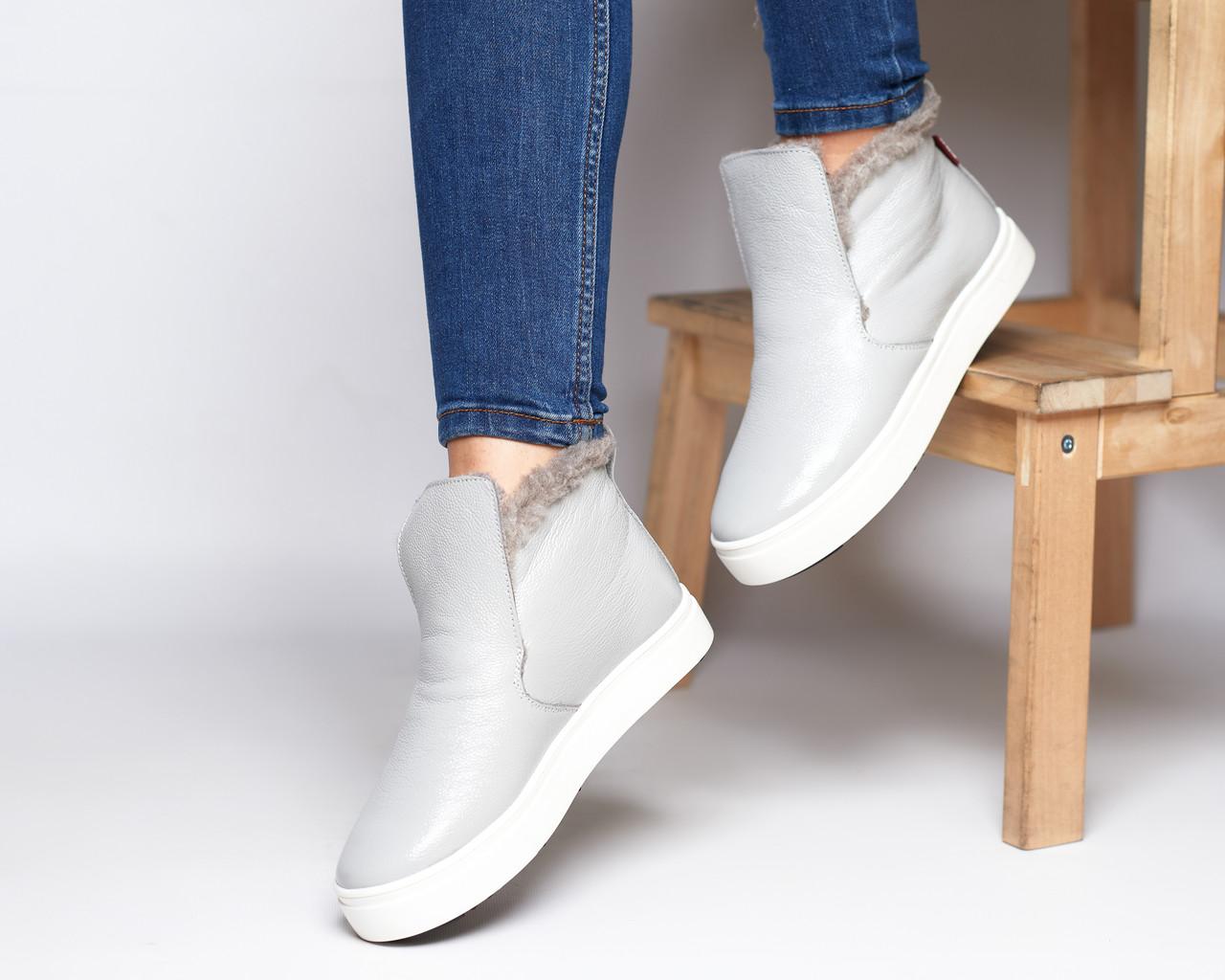 Зимние серые лаковые ботинки ( хайтопы) Ankle slip