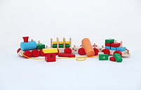 Паровоз і 3 вагони ящики цистерна колоди Komarovtoys P203, фото 2