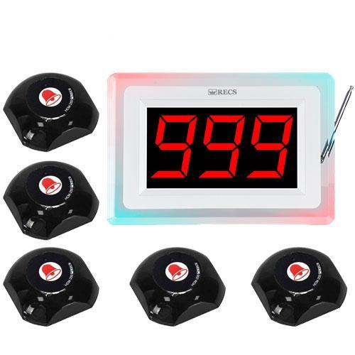Система вызова официанта RECS №125 | кнопки вызова официанта 5 шт + приемник вызовов